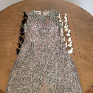 SCALA 91134 Silk Beaded sequin SLEEVELESS COCKTAIL